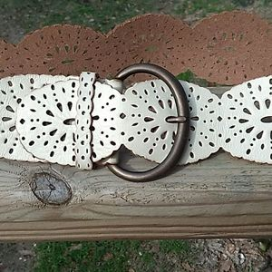 Fossil Wide Leather Boho Belt